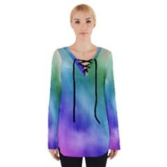 Rainbow Watercolor Women s Tie Up Tee