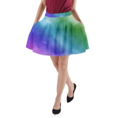 Rainbow Watercolor A-Line Pocket Skirt