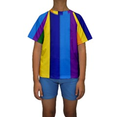 Rainbow Painting On Wood Kid s Short Sleeve Swimwear