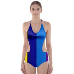 Rainbow Painting On Wood Cut-Out One Piece Swimsuit