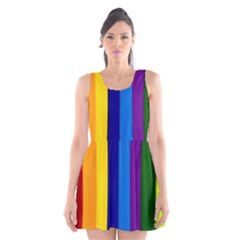 Rainbow Painting On Wood Scoop Neck Skater Dress