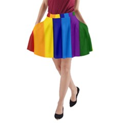 Rainbow Painting On Wood A-Line Pocket Skirt