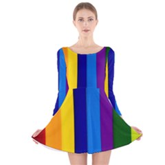 Rainbow Painting On Wood Long Sleeve Velvet Skater Dress