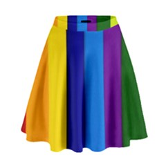 Rainbow Painting On Wood High Waist Skirt