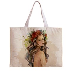 Beauty Of A woman In Watercolor Style Zipper Mini Tote Bag