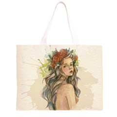 Beauty Of A woman In Watercolor Style Large Tote Bag