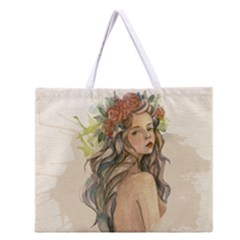 Beauty Of A woman In Watercolor Style Zipper Large Tote Bag