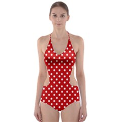 Dots Red Cut Out One Piece Swimsuit