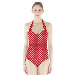 Dots Red Women s Halter One Piece Swimsuit