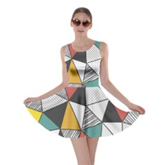 Colorful Geometric Triangles Pattern  Skater Dress