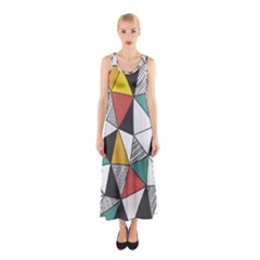 Colorful Geometric Triangles Pattern  Full Print Maxi Dress