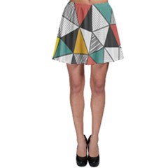 Colorful Geometric Triangles Pattern  Skater Skirt