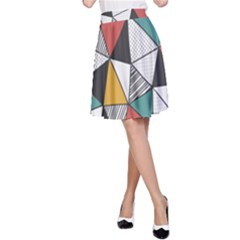 Colorful Geometric Triangles Pattern  A-Line Skirt