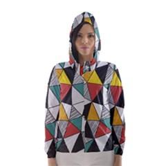 Colorful Geometric Triangles Pattern  Hooded Wind Breaker (women)