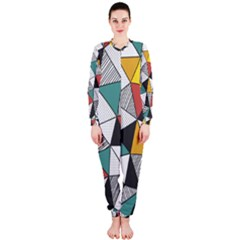 Colorful Geometric Triangles Pattern  Onepiece Jumpsuit (ladies)