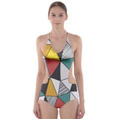 Colorful Geometric Triangles Pattern  Cut Out One Piece Swimsuit