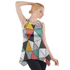 Colorful Geometric Triangles Pattern  Side Drop Tank Tunic