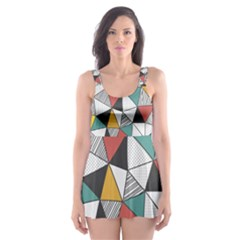 Colorful Geometric Triangles Pattern  Skater Dress Swimsuit