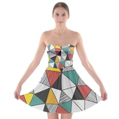 Colorful Geometric Triangles Pattern  Strapless Dresses