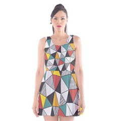 Colorful Geometric Triangles Pattern  Scoop Neck Skater Dress