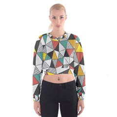 Colorful Geometric Triangles Pattern  Women s Cropped Sweatshirt