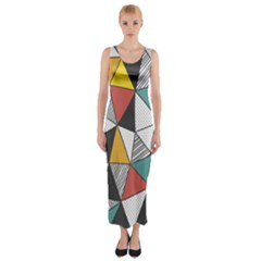 Colorful Geometric Triangles Pattern  Fitted Maxi Dress