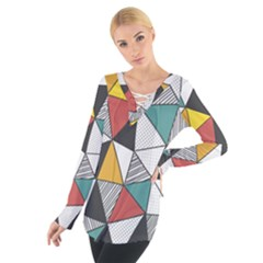 Colorful Geometric Triangles Pattern  Women s Tie Up Tee