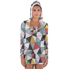 Colorful Geometric Triangles Pattern  Women s Long Sleeve Hooded T-shirt