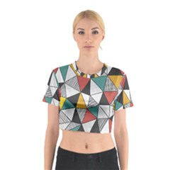 Colorful Geometric Triangles Pattern  Cotton Crop Top
