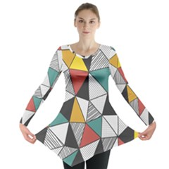 Colorful Geometric Triangles Pattern  Long Sleeve Tunic