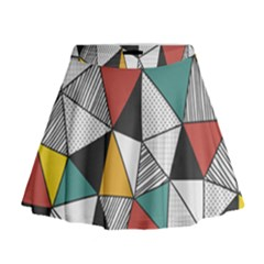 Colorful Geometric Triangles Pattern  Mini Flare Skirt