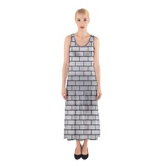 Brick1 Black Marble & Silver Brushed Metal (r) Sleeveless Maxi Dress