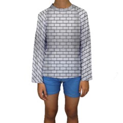 Brick1 Black Marble & Silver Brushed Metal (r) Kids  Long Sleeve Swimwear