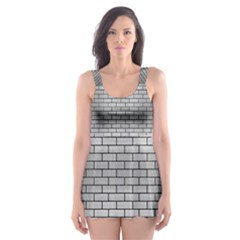 BRK1 BK MARBLE SILVER (R) Skater Dress Swimsuit