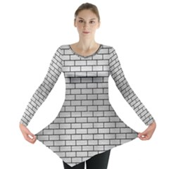 Brick1 Black Marble & Silver Brushed Metal (r) Long Sleeve Tunic