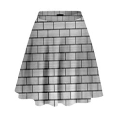 Brick1 Black Marble & Silver Brushed Metal (r) High Waist Skirt