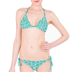 Blue Abstract Water Drops Pattern Bikini Set