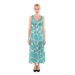 Blue Abstract Water Drops Pattern Full Print Maxi Dress