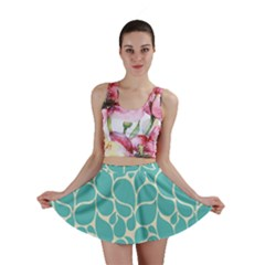 Blue Abstract Water Drops Pattern Mini Skirt