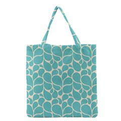 Blue Abstract Water Drops Pattern Grocery Tote Bag