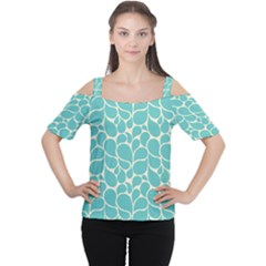 Blue Abstract Water Drops Pattern Women s Cutout Shoulder Tee