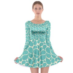 Blue Abstract Water Drops Pattern Long Sleeve Skater Dress