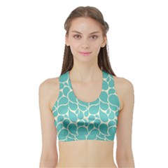 Blue Abstract Water Drops Pattern Women s Sports Bra with Border