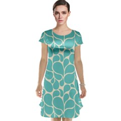 Blue Abstract Water Drops Pattern Cap Sleeve Nightdress