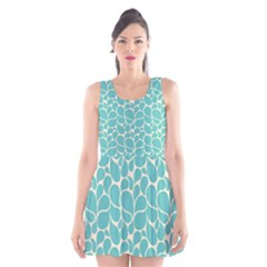 Blue Abstract Water Drops Pattern Scoop Neck Skater Dress