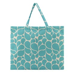 Blue Abstract Water Drops Pattern Zipper Large Tote Bag