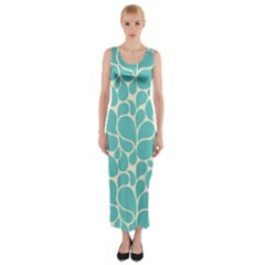 Blue Abstract Water Drops Pattern Fitted Maxi Dress