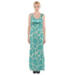 Blue Abstract Water Drops Pattern Maxi Thigh Split Dress