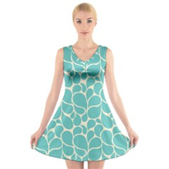 Blue Abstract Water Drops Pattern V-Neck Sleeveless Skater Dress
