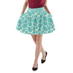 Blue Abstract Water Drops Pattern A-Line Pocket Skirt